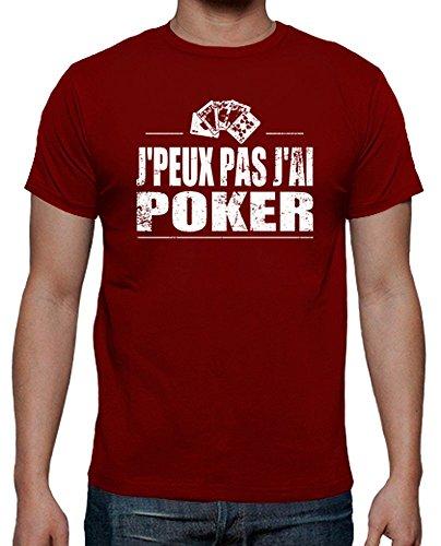 tostadora Tee Shirt J'peux Pas J'Ai Poker - Tee Shirt Homme, qualité supérieure Rouge Taille XXL