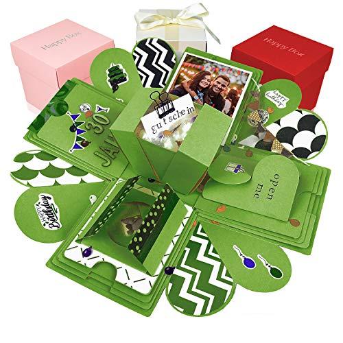 Happy Box Premium Set DIY Überraschungsbox in 7 Farben | Explosionsbox, Scrapbook, Faltbare Fotobox, Foto-Album für Muttertag,Jahrestag,Geburtstag,Hochzeit,Jubiläum, (Grün)