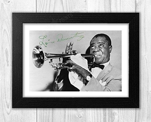 Engravia Digital Louis Armstrong Poster Signed Autograph Reproduction Photo A4 Print (Black Frame) Dining Features Kitchen Posters Prints