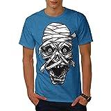 wellcoda Scare Mummy Eyes Mens T-Shirt, Egypt Graphic Printed Tee Royal Blue 2XL