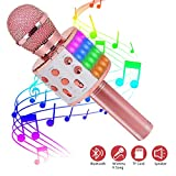 ASENTER Micrófono Inalámbrico Bluetooth Karaoke con luces LED,Infantil...