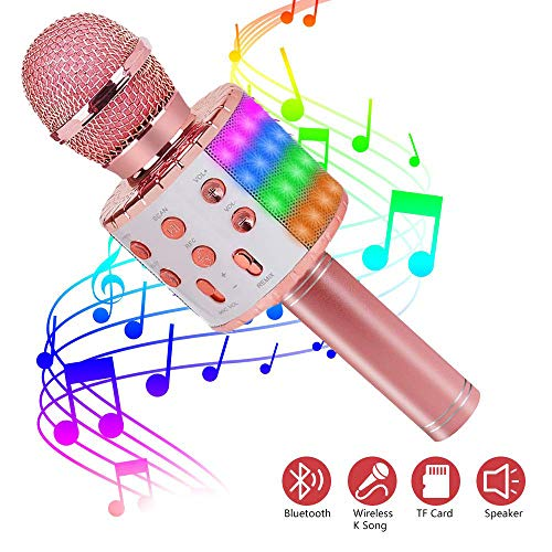 ASENTER Micrófono Inalámbrico Bluetooth Karaoke con luces LED,Infantil Portátil de mano Speaker Machine Birthday Home Party Compatible con Android/iOS/PC/AUX o Teléfono Inteligente (Oro Rosa)
