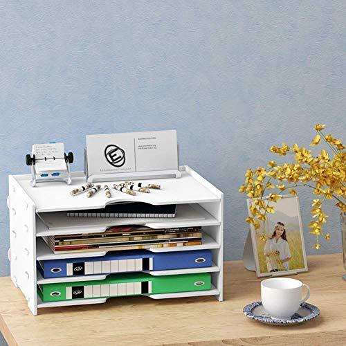 Brieftablett aus Holz, Regalsystem für den Desktop-Dokumentenspeicher mit 4 variablen Regalen Papierschale Holzbuchstaben und -Dokumente, 8lippener Leyue (Size : 4layers)