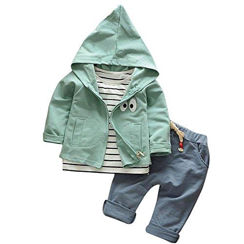 Hirolan 3 Stück Outfits Kleinkind Kind Bekleidungssets Baby Mädchen Jungen Streifen T-Shirt + Kapuzenpullover Mantel + Hosen Kleider Kinderkleidung Babyausstattung (Grün, 80)