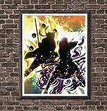 YEAHTOPE Naruto vs Sasuke Destiny Battle - Art manga numérique pour décoration, sans cadre, 20,3 x 25,4 cm