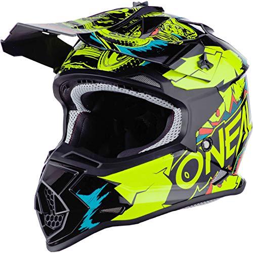 O'NEAL   Casco de Motocross   MX Enduro   ABS Shell, Estándar de Seguridad ECE 2205, Óptima ventilación y refrigeración   Casco 2SRS Villian Youth   Niños   Amarillo Neón   Talla S