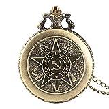 YHWW Orologio da Tasca Pocket Watch retrò Bronzo Quarzo sovieticoRussia EmblemaComunista Partito Distintivo Orologio da Tasca URSS distintivi sovietici Falce Martello Orologio Design