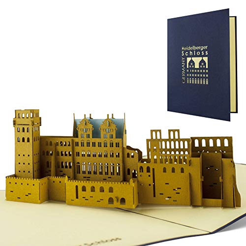 Gutschein für Reise nach Heidelberg verschenken, Heidelberg Ausflug, Schloss Heidelberg, Souvenir, schöne Pop-Up Karte A11