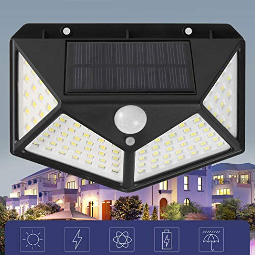 Olodui1 100 LED de energía Solar Sensor de Movimiento de luz Lámpara de Pared de jardín de jardín Impermeable al Aire Libre Apliques de Exterior