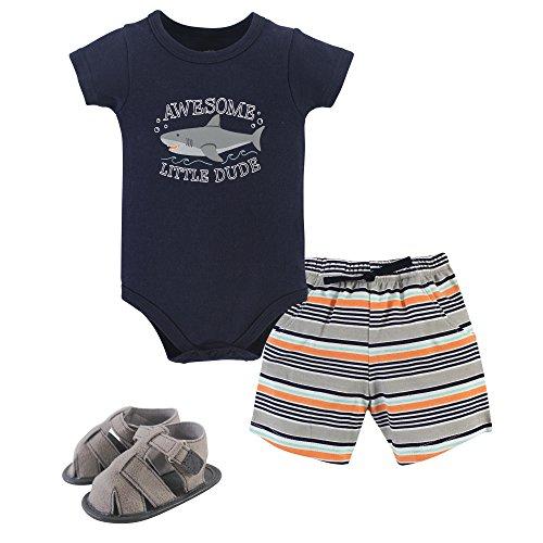 Hudson Baby Unisex Baby Cotton Bodysuit, Shorts and Shoe Set, Shark, 12-18 Months