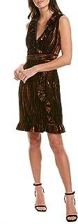 Anna Sui Womens Metallic Velvet Sheath Dress, 0, Gold