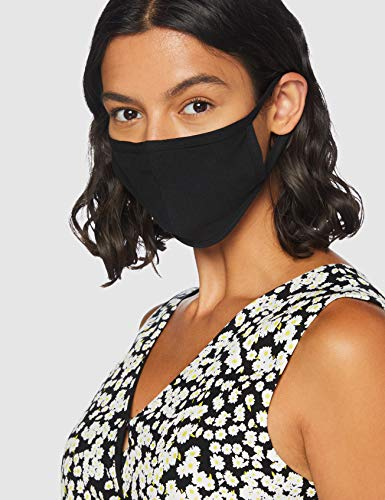 FM London Accessories Reusable Fabric Face Mask, Black, One Size (pack of 50)