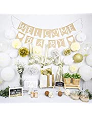 NAHA FLUME Rustic Baby Shower Decorations Neutral | 40pc Set Burlap Welcome Baby Banner | Gold Baby Shower Decorations Gender Neutral | Oh Baby Shower Decor | Gender Neutral Baby Shower Decorations