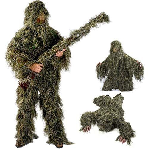 Traje Ghillie, Poncho de camuflaje para exterior 3D Poncho Camo Cape Cloak Stealth Ghillie Suit Military CS Woodland Hunting Clothing Incluyendo chaqueta, pantalones, capucha, bolsa de transpo