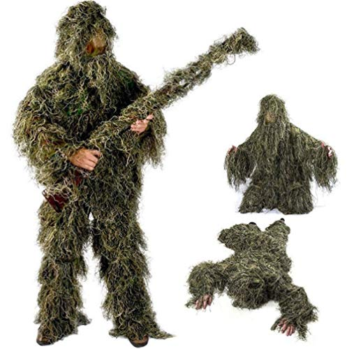 Traje Ghillie, Poncho de camuflaje para exterior 3D Poncho Camo Cape Cloak Stealth Ghillie Suit Military CS Woodland Hunting Clothing Incluyendo chaqueta, pantalones, capucha, bolsa de transporte adec