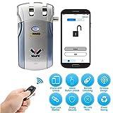 Cerradura de puerta sin llave Bluetooth inteligente WAFU con aplicación para smartphone, cerradura de puerta de seguridad inteligente oculta con aplicación (iOS/Android) WF-018U