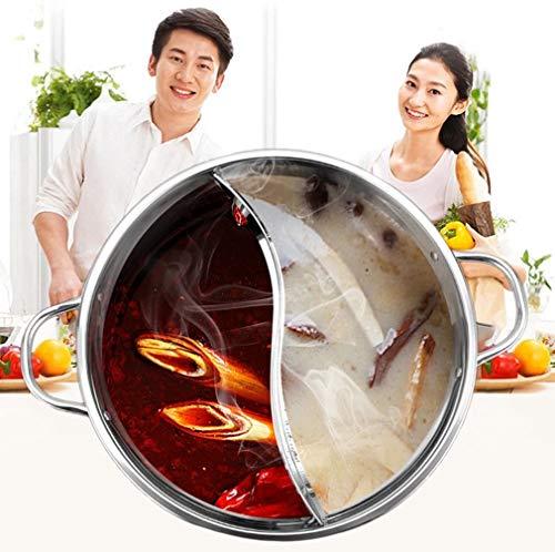 Growcolor Chinesischer Fondue Induktionsherd Kochtopf Extra Dicker geteilter Edelstahl-Hot Pot