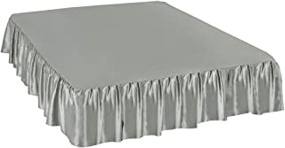 PiccoCasa Satin Silk Bed Skirt 300 Thread-Count Dust Ruffle with 18 Inch Drop - Gray, King Size: 78 x 80 Inch