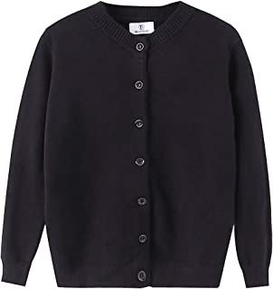 Women Thick Button Down Cardigan Sweaters Crew Neck Medium Weight Long Sleeve