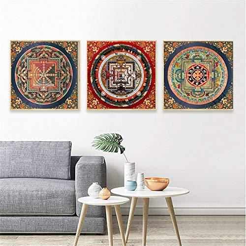 Cqzk Original Budista Tibetano Thangka Mandala Decoración del hogar Living Dormitorio Decoración Arte de la Pared Imágenes Carteles Impresiones Lienzo Pintura 50 × 50 cm × 3 Sin Marco
