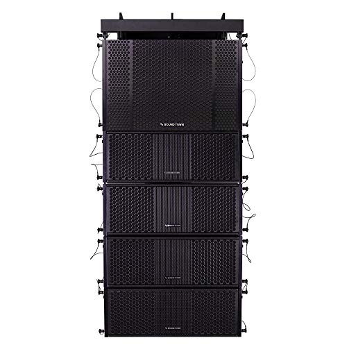 Sound Town ZETHUS Series Line Array Speaker System with One Dual 12-inch Line Array Subwoofer, Four Compact Dual 8-inch Line Array Speakers, Black