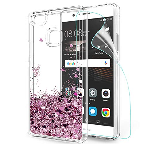 LeYi Custodia Huawei P9 Lite Glitter Cover con HD Pellicola,Brillantini Trasparente Silicone Gel Liquido Sabbie Mobili Bumper TPU Case per Custodie Huawei P9 Lite Donna ZX Rosa Rose Gold