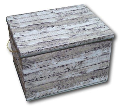 Urban Design Aufbewahrungsbox Aufbewahrung Box Kiste faltbar mit Deckel und Trageseil aus Stoff im Holz Retro-Look (Gross, grau)