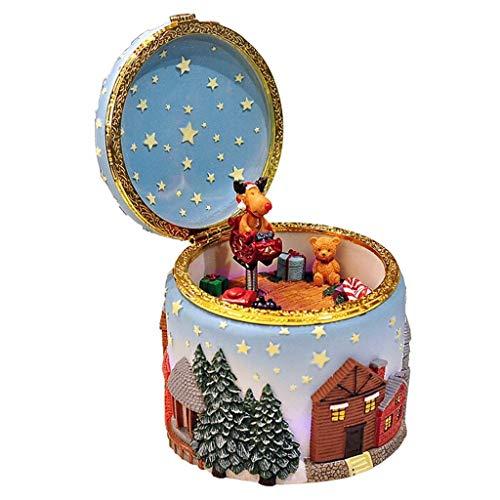 YIXIN2013SHOP Music Box Glowing Elk Christmas Tree Music Box Creative Birthday Music Box Musical Boxes for Women Girls (Color : A)