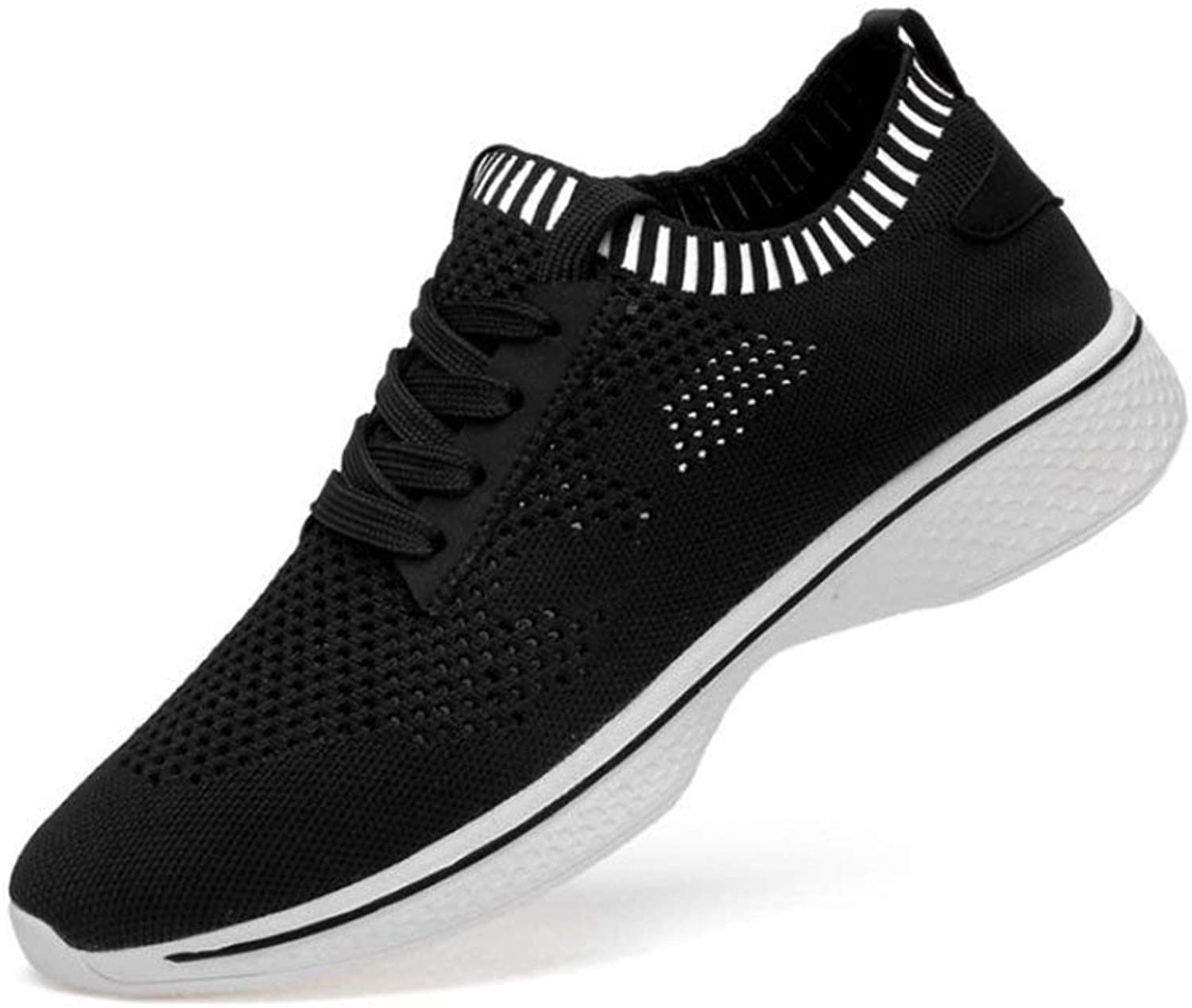 FuweiEncore Men's Sneakers, Summer New Plain Mesh Sneakers, Men's Breathable Outdoor Casual Men's shoes, Comfortable Running shoes, Black, 37 (color   As shown, Size   One size)