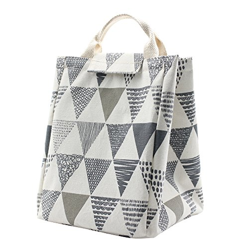 Mziart Reusable Lunch Bag, Foldable Canvas Lunch Tote Travel Bag Lunch Box Holder Bento Cooler Bag for Women Men Kids Adults (Triangle Pattern)