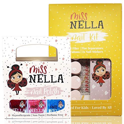 Miss Nella NAGELKIT & 3 NAGELPACKET- Nagelzubehör für Kinder- 3 abziehbare Nagellacke, Nagelaufkleber, Tattoos, Nagelfeile & Zehenspreizer- speziell gefertigt für Kinderhände,- und Füße.