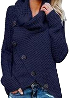 Macondoo Womens Pullover Cardigan Cowl Neck Knitwear Casual Plus Size Sweater