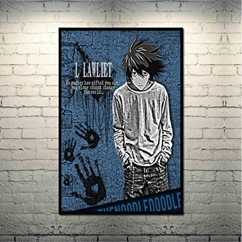 Póster de Lienzo de Seda de Arte japonés Death Note para decoración de Pared de Sala de Estar Moderna (50X70Cm) sin Marco YI1901