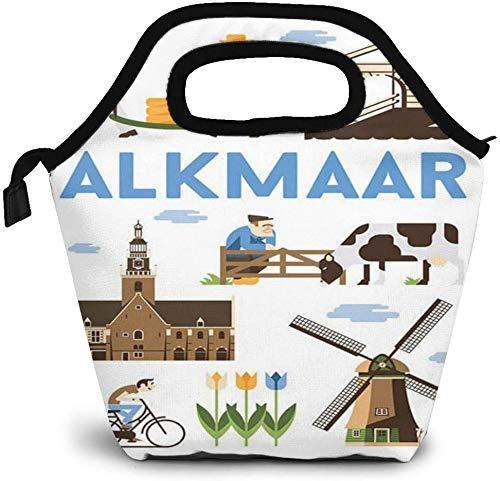 City Vintage Travel Posters Alkmaar Bolsa de almuerzo con aislamiento personalizado Bento Box Picnic Cooler Bolso portátil Bolsa de almuerzo para mujeres, niñas, hombres, niños