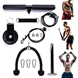 RIOHIOR LAT Pulley Cable System Gym Pull Down Machine with Dual Cable Machine with Loading Pin Triceps Pull Down, Biceps Curl, Back, Forearm, Shoulder Home Gym Equipment