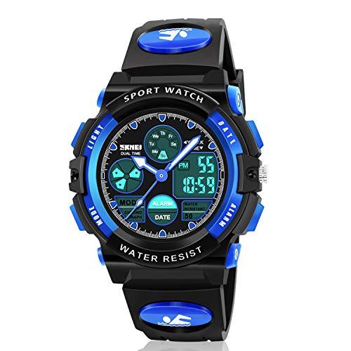 Atimo Digital-Armbanduhr, multifunktional, wasserdicht, für den Sport, mit Alarm, Stoppuhr, ideales Geschenk für Kinder und Jugendliche, Jungen Mädchen, 8541772033, blau