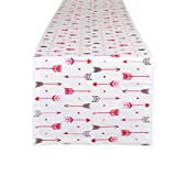 DII CAMZ10633 100% Cotton, Machine Washable, Printed Kitchen Table Runner for Mother's, Valentine's Day and Everyday Use, 14x108, Hearts & Arrow