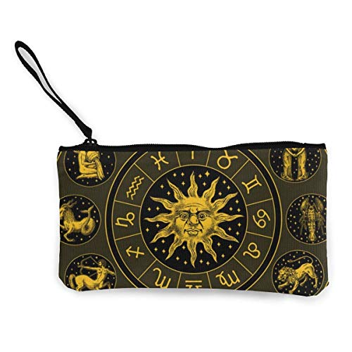 Zodiac Wheel Astrology Horoscope with Sun Women and Girls Cute Fashion Canvas Coin Purse Change Cash Bag Zipper Small Purse Wallets for Keychain Money Travel Pouches