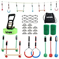 Zncmrr Outdoor Backyard Ninja Obstacle Course Line with 7 Hanging Obstacles, Adjustable Buckles, Tree Protectors and Carrying Bag