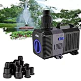 YAOBLUESEA Eco Pompa Pompe a Frequenza Variabile Pompa per Stagni Pompa Laghetto 3600l/h 20W