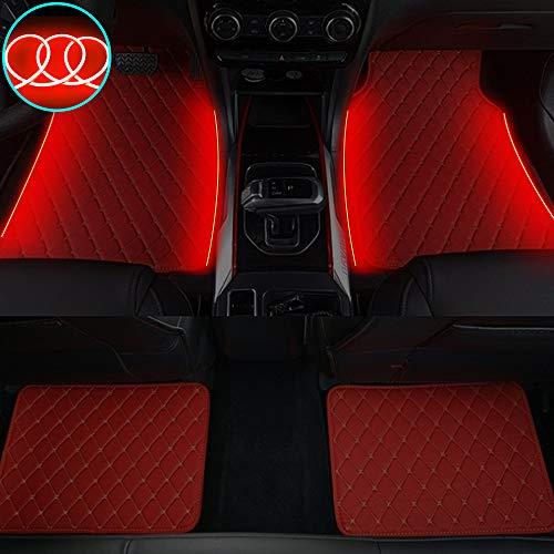 Qiaodi Alfombrillas brillantes para el coche NX NX200t NX300 NX300h antideslizante de piel sintética para el suelo, tiras de iluminación LED para decoración interior, 4 piezas, color rojo y rojo