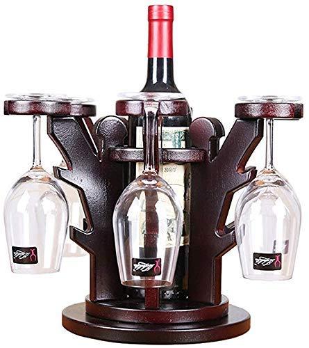 BAIJJ Holz Weinregal/Glashalter Schrank Naturholz Wein Display Lagerung, mit 6 Glashalter und 1 Flaschenhalter, perfekt für Weinliebhaber oder Gäste Party