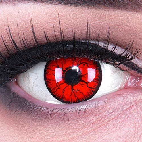 Funnylens Metatron Kontaktlinsen rot mit Behälter ohne Stärke. Perfekt zu Fasching, Karneval und Halloween. 1er Pack (1 x 2 Stück)