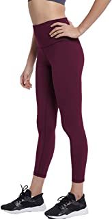 High Waist Yoga Pants Running Sports Gym Workout Leggings with Inner Pocket Cropped Length