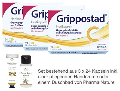 Grippostad C Sparset 3 x 24 Kapseln inkl. einer pflegenden Handcreme o. Duschbad von Pharma Nature