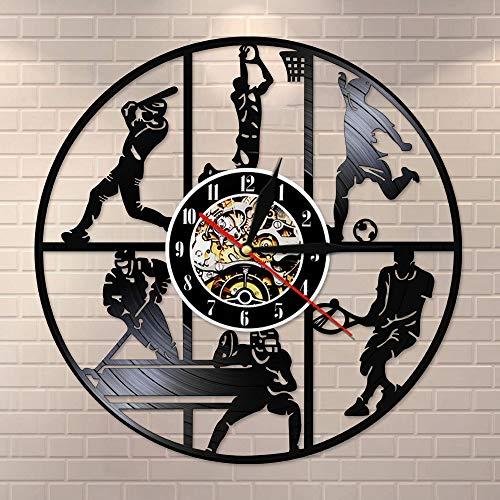 Reloj de pared de vinilo con diseño de pelota de béisbol, baloncesto, fútbol, hockey, fútbol, tenis, para habitación infantil, decoración de pared