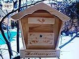 Briefkasten HBK-SD-NATUR groß hell natur unbehandelt für Gartenhaus Holzhaus und Eingang Gartendeko mit Holzdach Dekoration Briefkästen Holzbriefkästen Postkasten Spitzdach