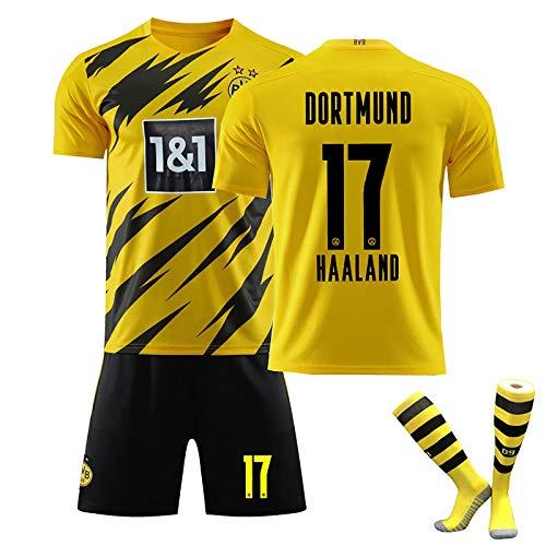 LISI 20/21 Replica Borussia Dortmund BVB Camiseta de Futbol #9#11#17 Niños Adulto Fans 3 Piezas Jersey con Calcetín y Shorts,C,28