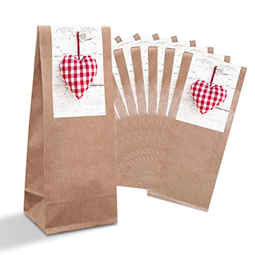 10 piccoli sacchetti regalo marrone + inserto in pergamena + adesivi a forma di cuore rosso e bianco (7 x 20,5 x 4 cm) per matrimonio, compleanno, bomboniera