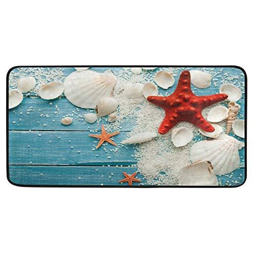 Alfombra de cocina de verano con estrellas de mar de color rojo en azul alfombra de baño de madera, tapete de confort antideslizante para baño interior de 39 x 20 pulgadas